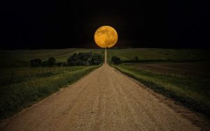 Full Moon at the end of the road