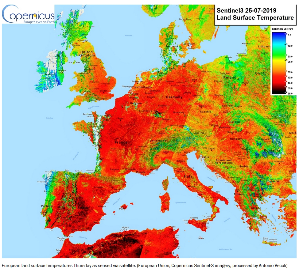 Satellite data of temperatures across Europe in later June 2019 and late July 2019, when a heat wave swept across the continent.