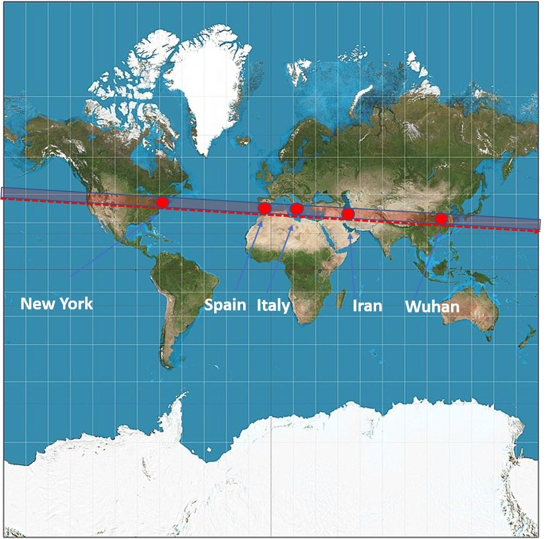 40th parallel line and coronavirus