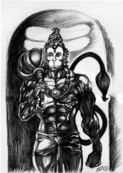 Hanuman and linga