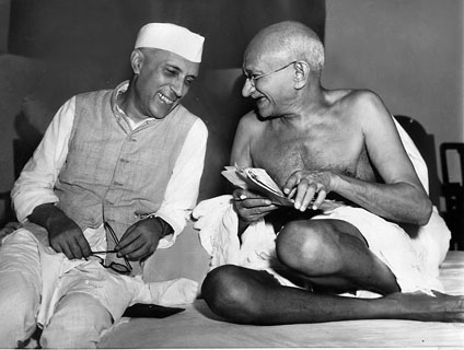 Nehru and Gandhi enjoy a quiet humour at the Indian National Congress