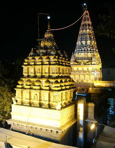 Night view of the temple at Alandi, the final resting place of Jnanadeva
