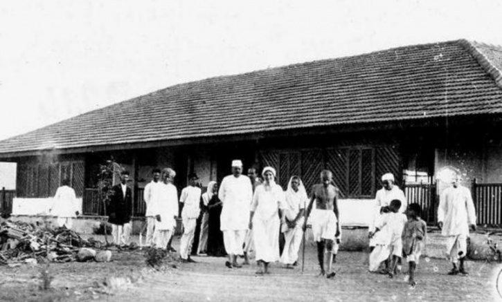 Gandhi and companions at Sabarmati Ashram, Ahmedabad