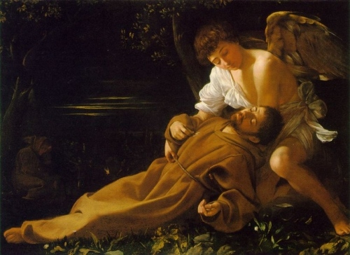 Caravaggio: An angel brings the Stigmata to St Francis