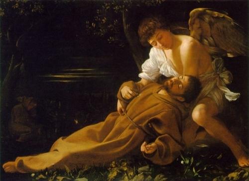 Caravaggio: An angel brings the Stigmata to St Francis