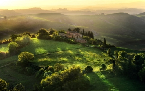 the countryside of Umbria where Francis lived.