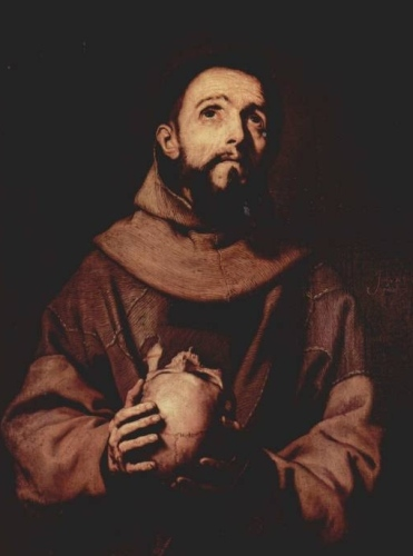 Oil Painting, St Francis of Assisi, with skull, looking heavenwards
