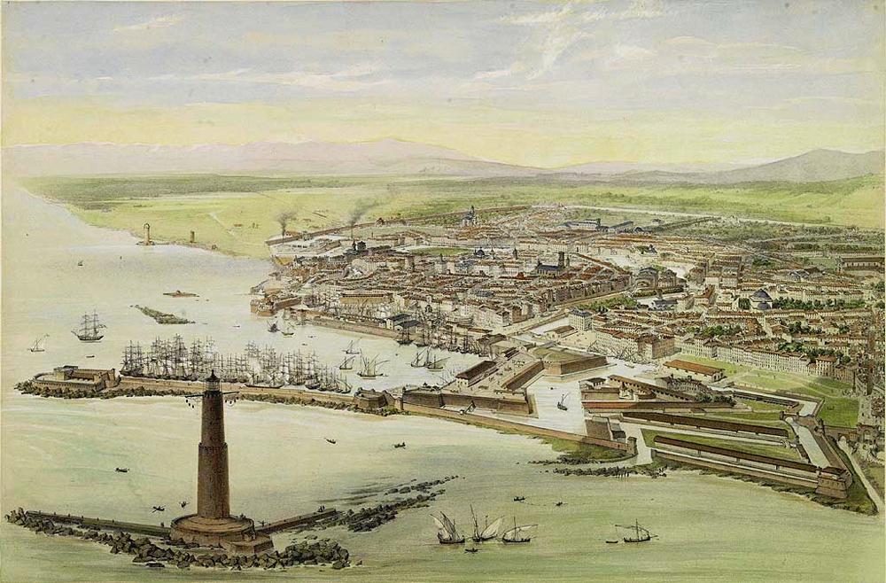 View of Livorno, circa 1850