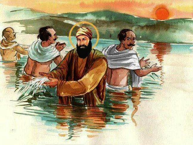 Guru Nanak watering the crops