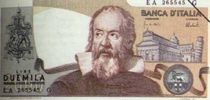 Portrait of Galileo on Italian Banknote