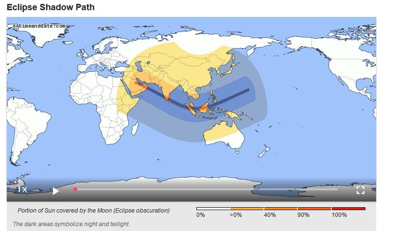 Path of the 2019 Annular Solar Eclipse.