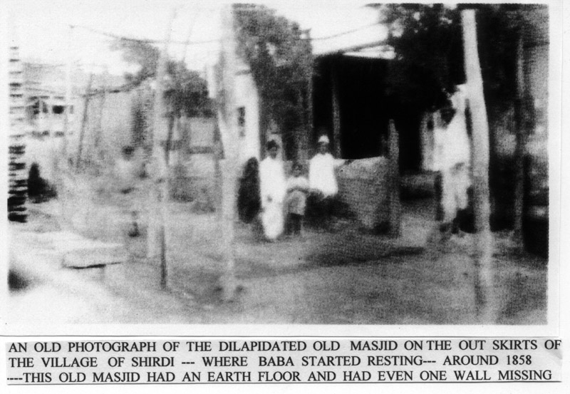 Early photo of Shirdi masjid occupied by Sai Baba
