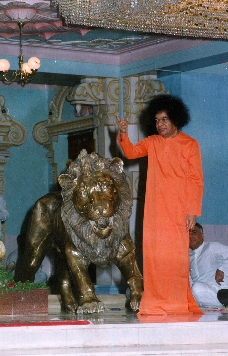 Swami with lions