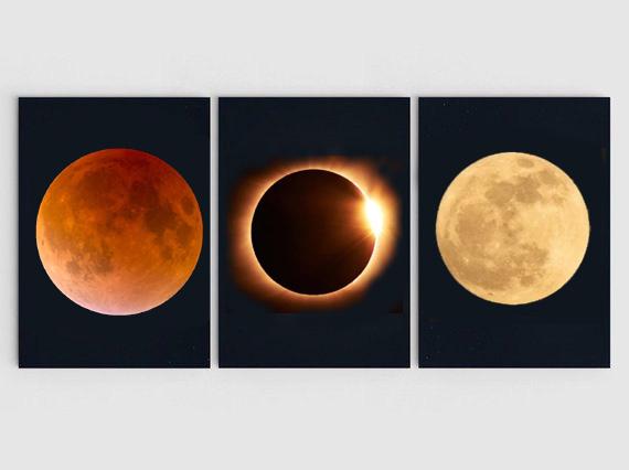 A Triptych  of eclipses: Lunar, Solar, Lunar