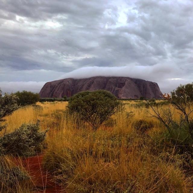 Uluru on a cloudy day