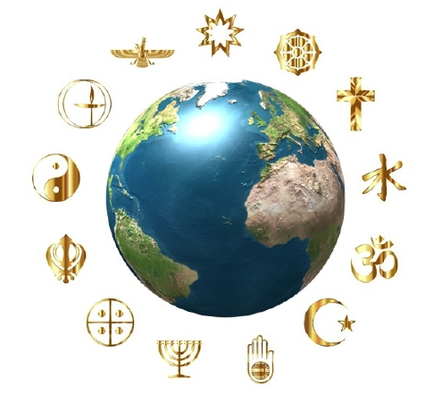 globe with symbols of faith